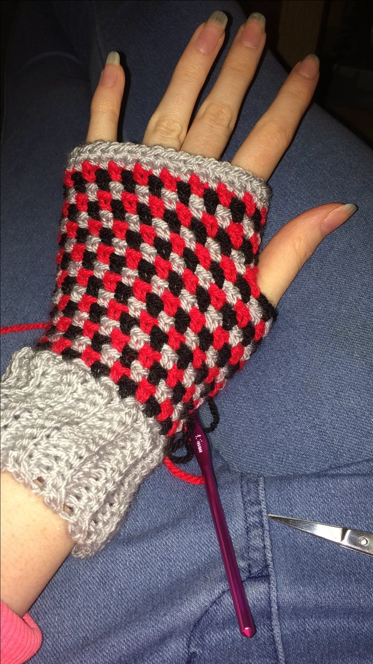 Moss stitch hand warmers. Weird colour combo but they are a gift and she'll love the colours! Christmas present crafting!