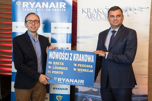 Today, during a press conference Ryanair airline launched its Krakow summer 2017 schedule, with 5 new routes.  #Ryanair #KrakowAirport