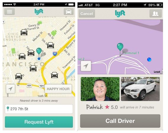 car sharing : lyft, uber, so car, tikle 공유경제를 담고 있는 car sharing.