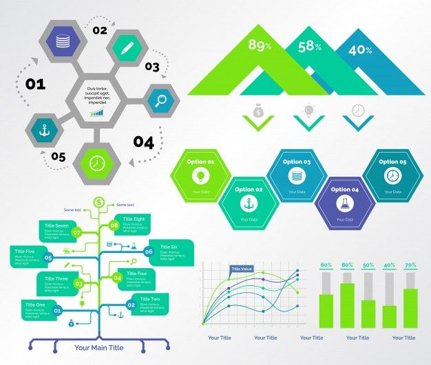 Five Consulting Charts Templates Set Free Vector