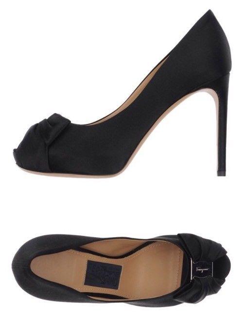 17076b6fa2b5 Salvatore Ferragamo Black Satin Open Toe Pianka Pumps Sz 10  fashion   clothing  shoes  accessories  womensshoes  heels (ebay link)