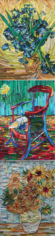 Korean artist Lee Kyu-Hak recreates paintings such as Van Gogh's Sunflowers using wood blocks wrapped in coloured newspaper: Still life of iris - Goghs chair - Still life of sunflowers