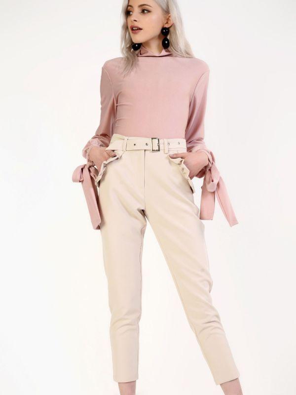 Stone ruffle pocket trousers