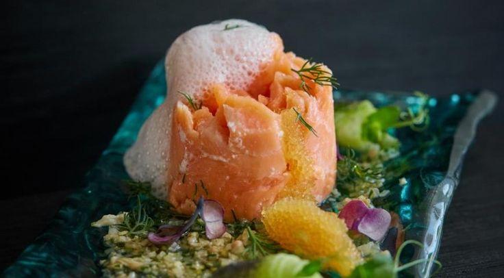 Глазированный лосось с сезонными овощами