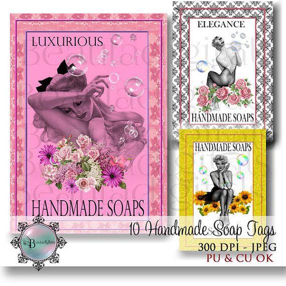 Handmade Soap Tags  Colour and Monochrome  ATC by Beauladigitals