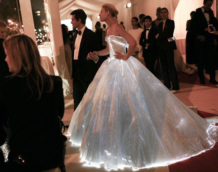 Fashionably Lit Up!! Met Gala 2016, Claire Danes wearing luminous Fiber Optic dress designed & engineered by Zac Posen, using our Panels of fiber optic fabric