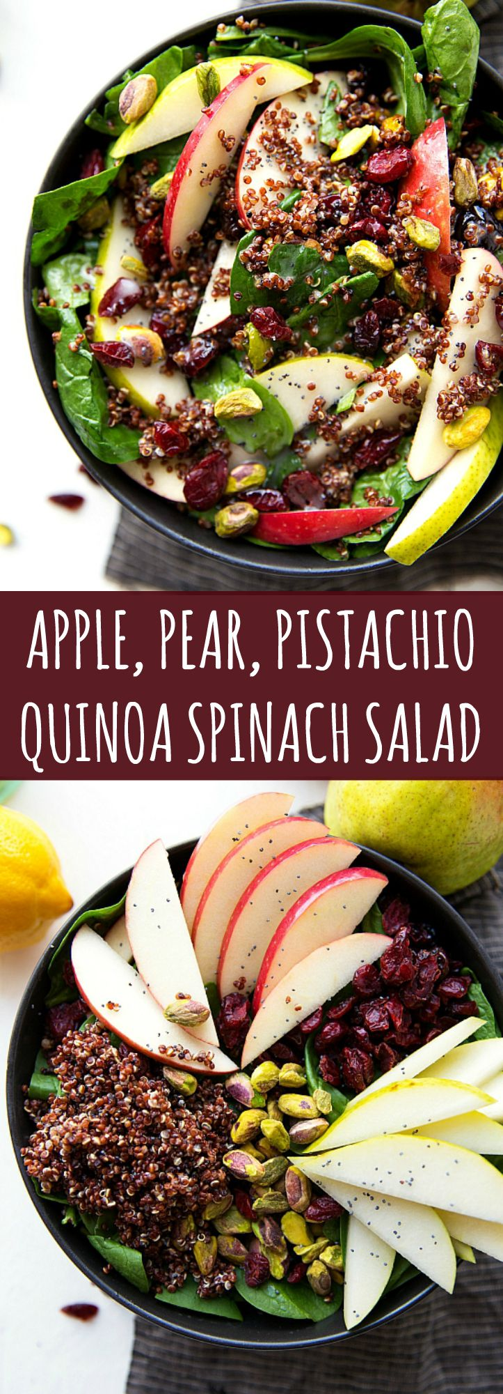 Delicious and simple Fall Salad -- Apple, Pear, Pistachio Quinoa Spinach Salad great for Thanksgiving!