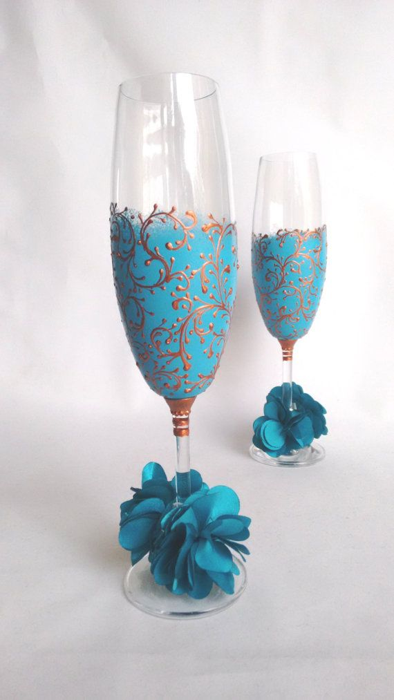 Wedding Glasses Bride and Groom Toasting Champagne by HiMaria