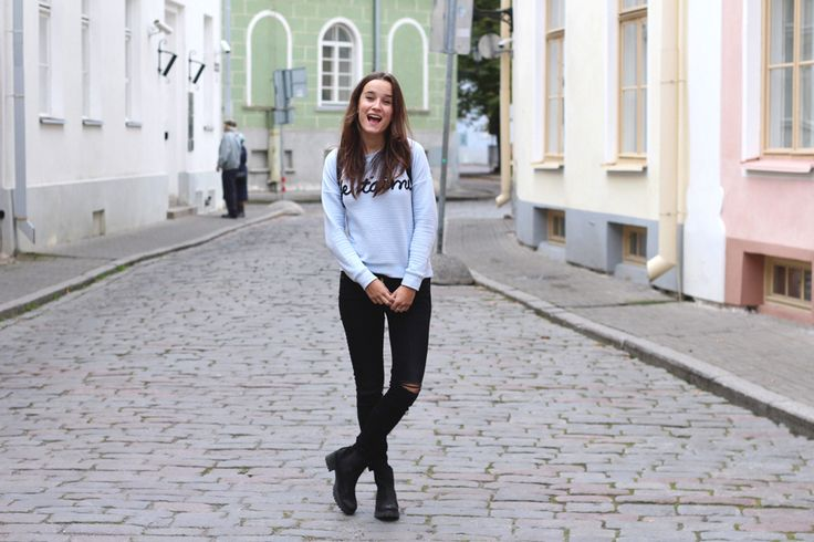 Fashiable, outfit, fashion, blogger, Tallinn, New Yorker sweater, ZARA jeans