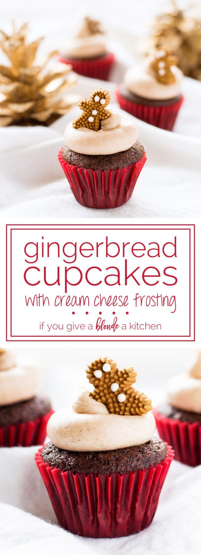 Gingerbread cupcakes are full of flavor with ginger spiced cake and sweet cinnamon cream cheese frosting. The mini size is perfect for holiday parties!