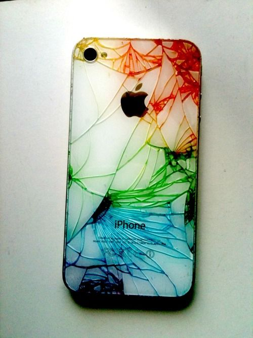 Colourful iPhone broken glass