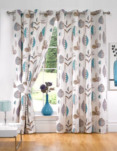 Retro Floral Lined Ready Made Eyelet Curtains