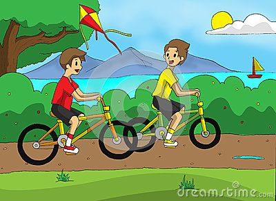 Playing bicycle at the park with brother