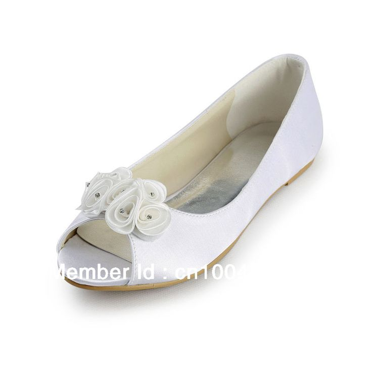 Aineny99L1346 Ivory Open Toe Flowers Flat  Satin Evening Party & Wedding Bridal Shoes on AliExpress.com. $68.99