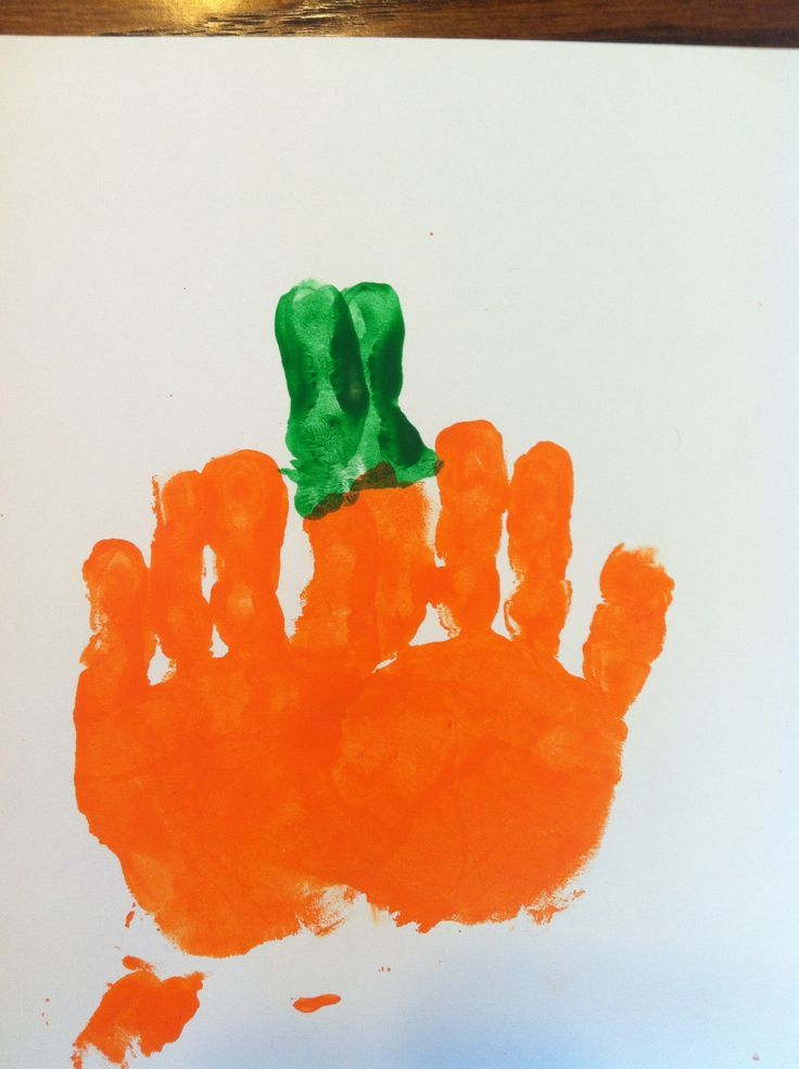 Handprint Pumpkin Craft For Toddlers