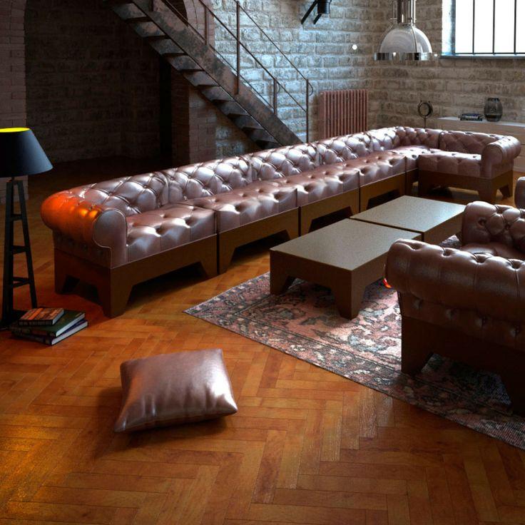 Apyou Sofá Button Conjunto de sofá modular y sillón Button de Apyou. Tapizado en polipiel con acabado capitoné. Elegante, cómodo y muy versátil. Tú diseñas...