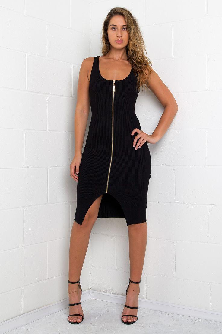 Black dress urban planet - Zip Up Ribbed Dress