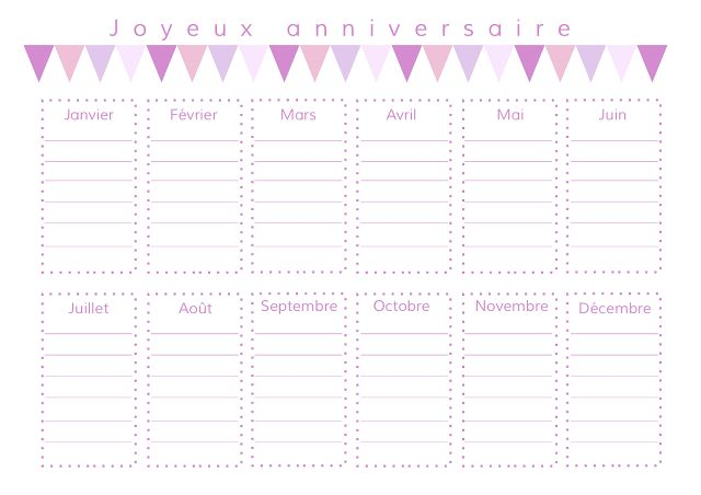 Gabulle in wonderland: calendrier des anniversaires à imprimer (birthday planning) version rose