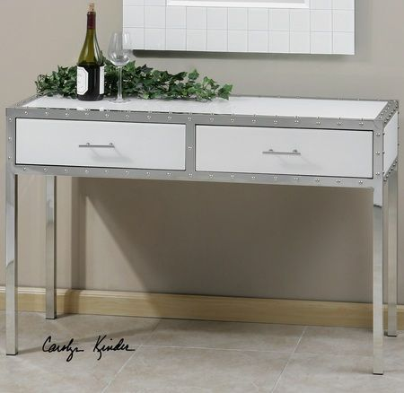 rivet modern white console table with storage - White Sofa Table