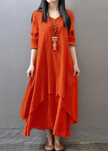 V Neck Long Sleeve Orange Maxi Dress   lulugal.com - USD $27.79