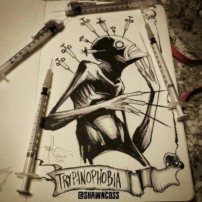 Tripanofobia, medo de injeções - Shawn Cross é um artista conhecido por seus desenhos assustadores e angustiantes - Artista iustra vários tipos de #fobias de uma forma bizarra e assustadora
