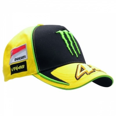 2012 MotoGP season    Valentino Rossi Monster Ducati 46 cap from the VR46 Official Merchandise Range    The VR46 cap features many logo's as worn by Rossi Himself.    It has a classic design with the front panel being black as well as both sides and back being Yellow.    It incorporates The Monster Energy Logo on the front complete with a Yellow 46.    A large Ducati badge vacates the side and VR46 logos on both sides.    The Rossi Sun and Moon logo takes it's place on the back of the cap.