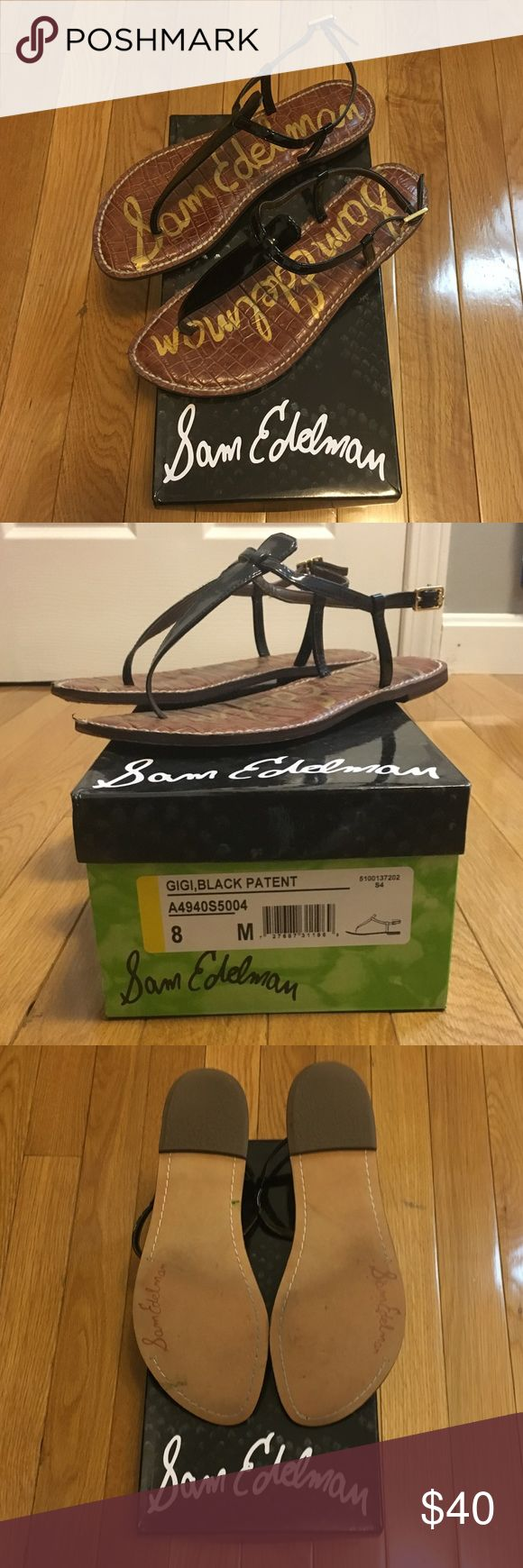 Sam Edelman Gigi Black Patent Sandal, Size 8 Great sandals that I've only worn a few times, in great condition. Black patent leather. Comes with box. Sorry no trades, only looking to sell. Sam Edelman Shoes Sandals