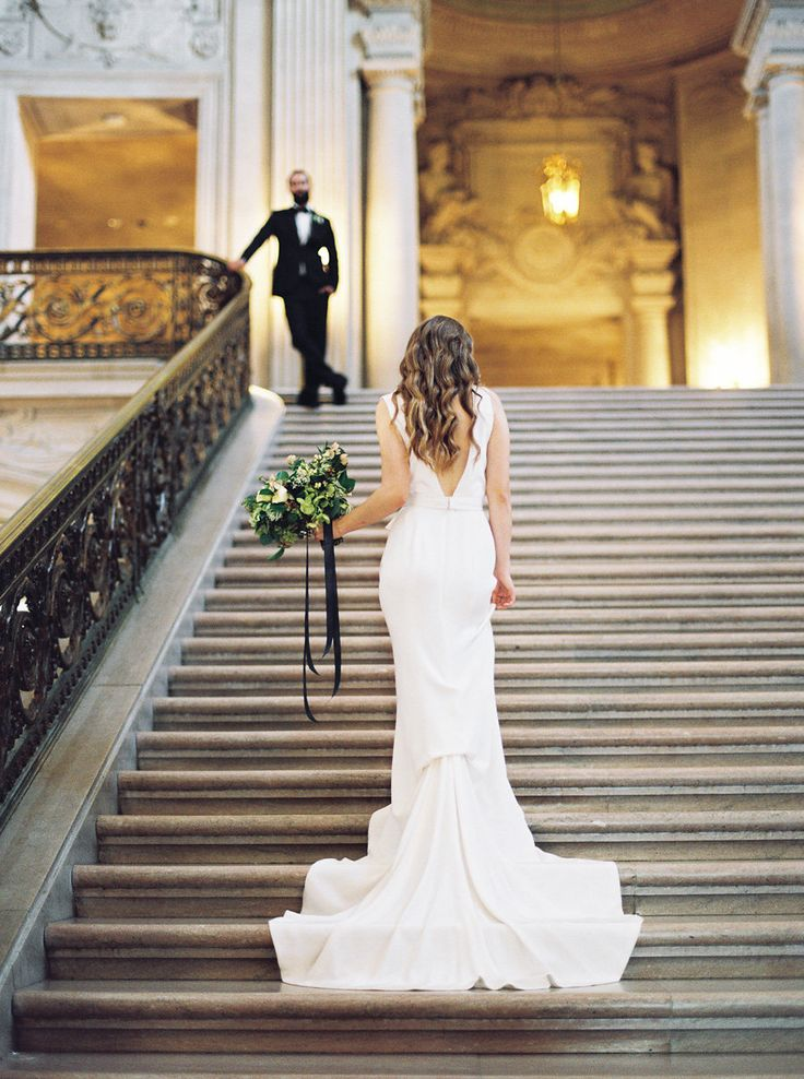 Dress: Carol Hannah Winchester | Photography: Lara Lam | Styling and Planning: Kyla Gold | Floral Design: Bowerbird Atelier | Hair & Makeup: Beautiful One Makeup Artistry | Suit: The Black Tux | Venue: San Francisco City Hall