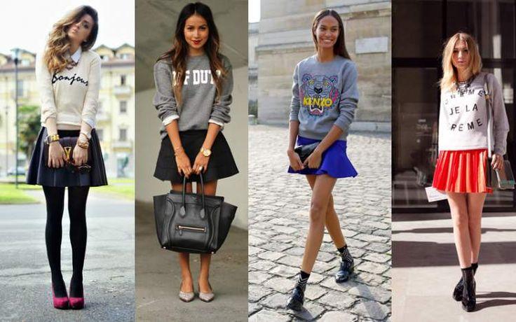 moletom com saia entre as tendências da moda outono/inverno 2017
