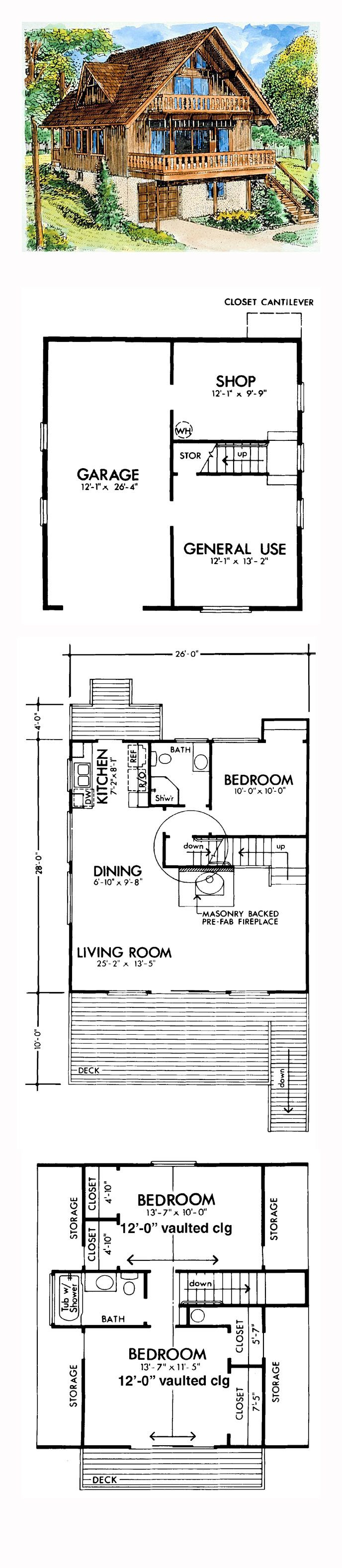 A-Frame House Plan 57391 | Total Living Area: 1614 sq. ft., 3 bedrooms and 2 bathrooms. #aframehome