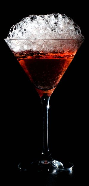 The cranberry bubbles are a great easy way to add a molecular gastronomy touch to the traditional cosmopolitan cocktail.