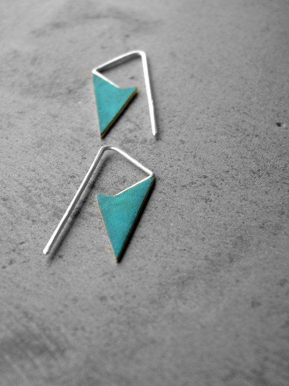 Little Spike Earrings  brass earrings verdigris earrings by alibli