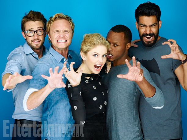 Robert Buckley, David Anders, Rose McIver, Malcolm Goodwin, Rahul Kohli, 'iZombie' #EWComicCon  Image Credit: Michael Muller for EW