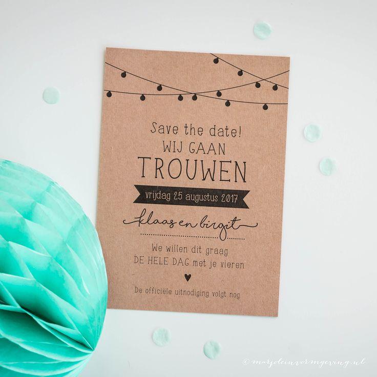 Save the Date kaart Klaas & Birgit - Ontwerp Marjolein Vormgeving #trouwkaart #ontwerp #opmaat #trouwkaarten #persoonlijk #kaarten #trouwen #kraft #kraftpapier #kaart #savethedate
