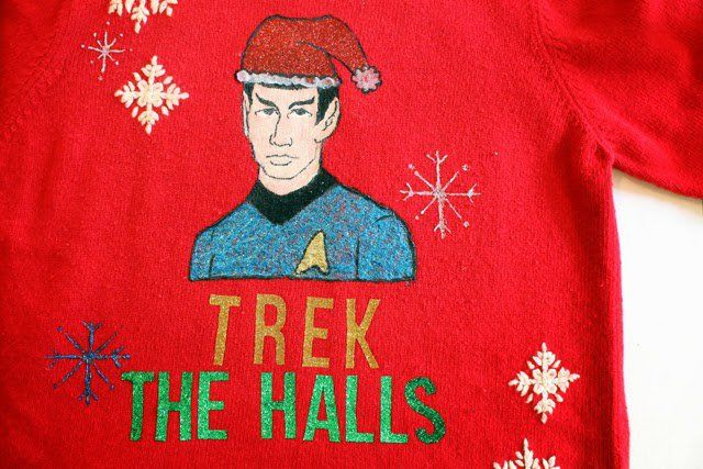 Star Trek Sweater - 13 DIY Ugly Christmas Sweaters | Perfect Ugly & Funny Handmade Costumes by Pioneer Settler at http://pioneersettler.com/diy-ugly-christmas-sweaters/