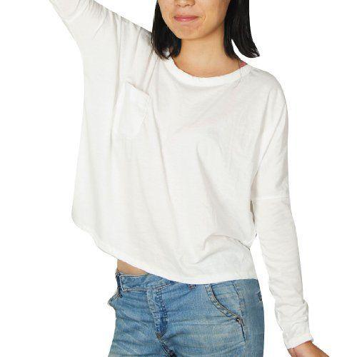 Allegra K Women One Pocket Front Scoop Neck Loose Casual Top Shirt White XS Allegra K. $8.95