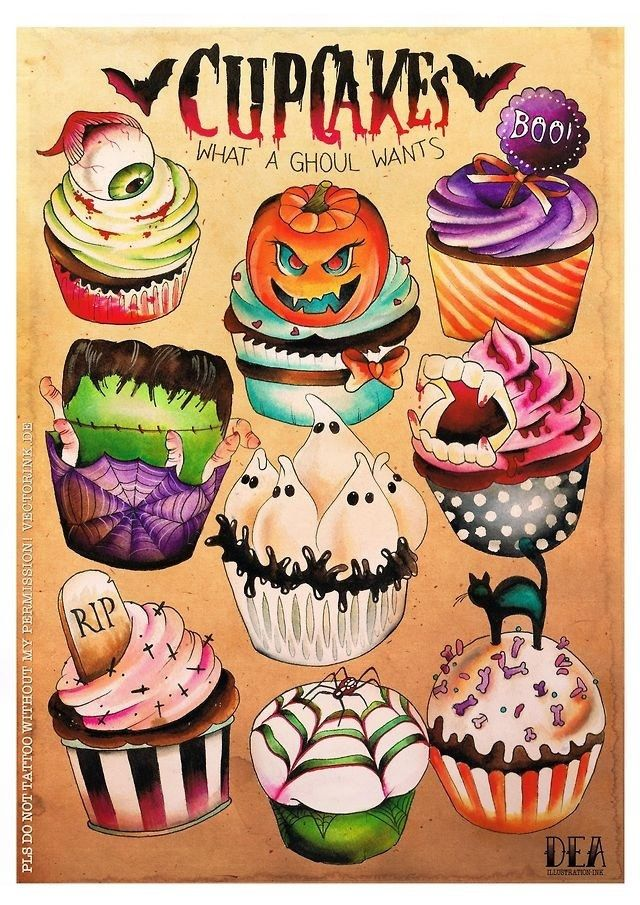 HALLOWEEN CUPCAKE POSTER. $10.00, via Etsy.