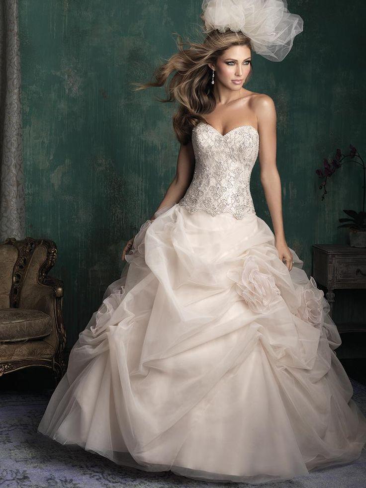 #Роскошные Свадебные Платья# Кристалл Бальное Платье Из Органзы Бисером Свадебные Платья Суд Поезд Без Бретелек Декольте