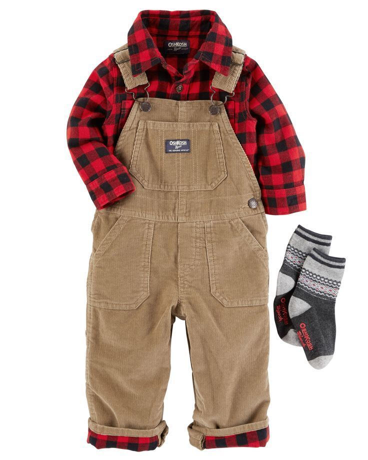 Cute Overalls With Buffalo Check Buffalo Plaid Lumberjack Pattern For Shirt And Pant Cuffs Over Baby Boy Outfits Toddler Girl Outfits Toddler Outfits