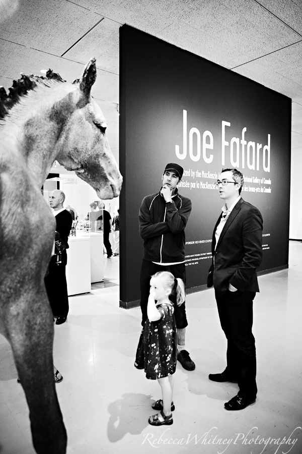 Shaun Mayberry at the opening of the National Gallery of Canada's Joe Fafard Exhibition at the Winnipeg Art Gallery