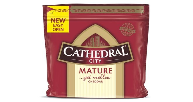 Easy tear open packaging for Cathedral City cheese brand