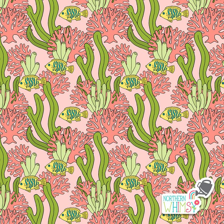 A closer look at one of the pink and green coral, seaweed, and tropical fish patterns from Northern Whimsy's Coral Reef collection.