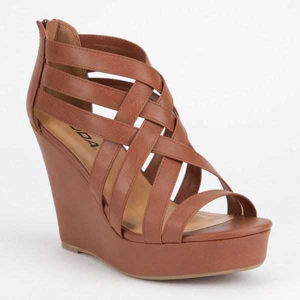 Soda Jorgina Womens Wedges ($27) ❤ liked on Polyvore featuring shoes, sandals, heels, wedges, tan, wedge sandals, strappy sandals, wedge heel sandals, wedge heel shoes and cross sandals