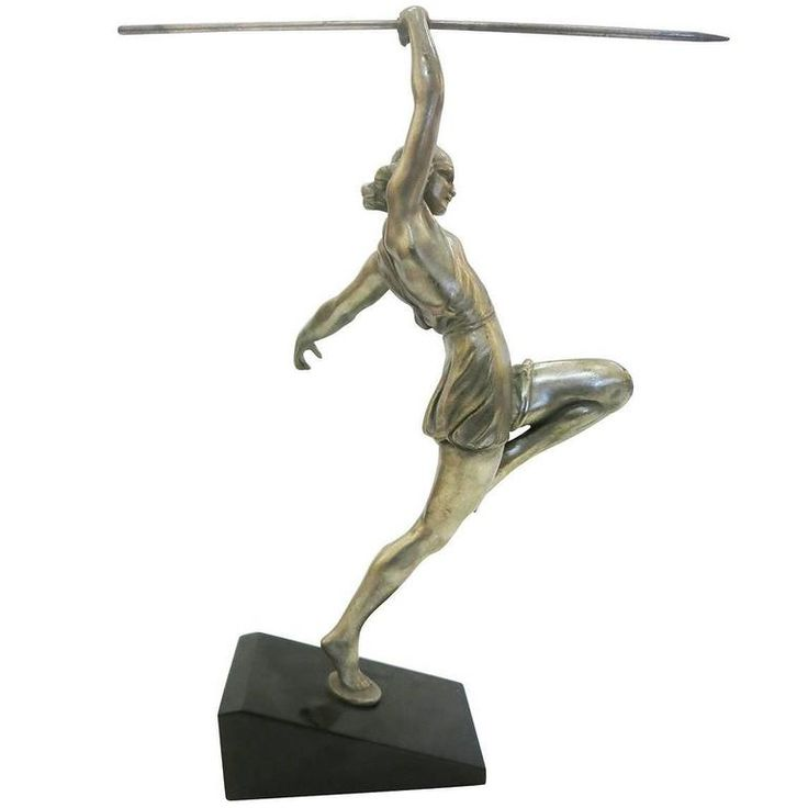 Art Deco Style Silver Finished Bronze Female Roman Warrior with Spear on Marble  | From a unique collection of antique and modern sculptures at https://www.1stdibs.com/furniture/decorative-objects/sculptures/