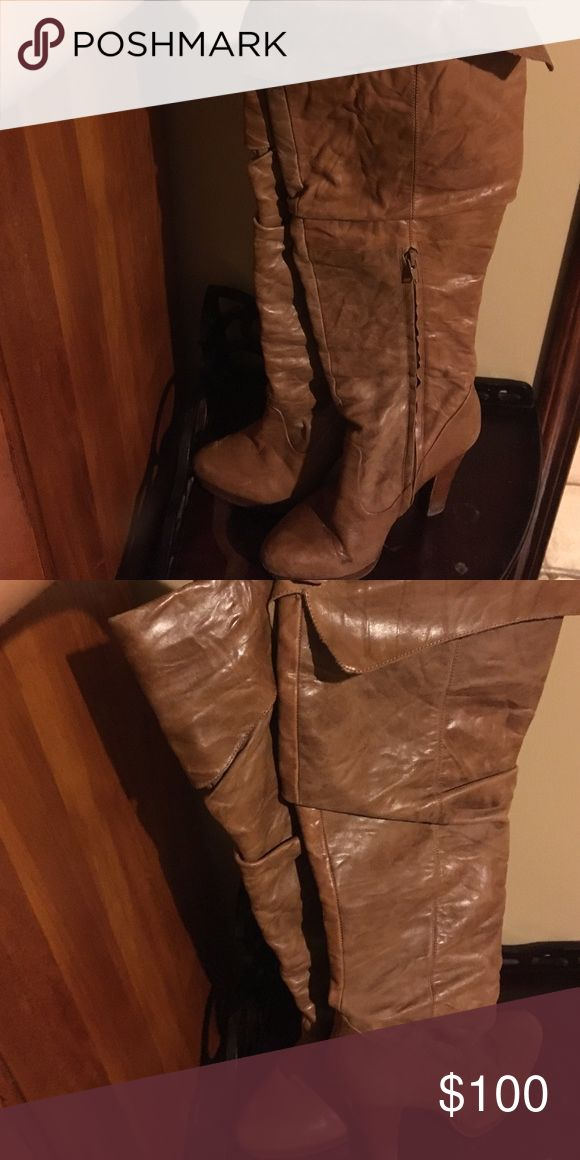 Jessica Simpson leather heel boots size 7 1/2 Jessica Simpson leather Heel boots size 7 1/2 Worn a few times I loved them but they are too small for me. In very good condition! Jessica Simpson Shoes Over the Knee Boots