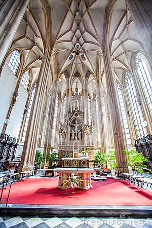BRNO, CZECH REPUBLIC - AUGUST 09, 2012: The interior of the church of St James. The Church has the highest tower in the city of Brno - 92 m.