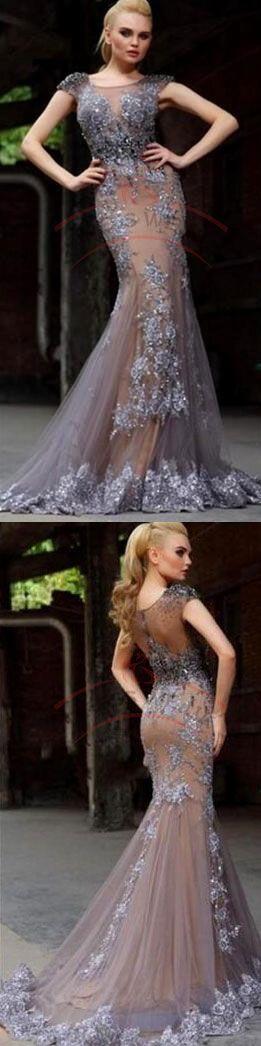 Elegant Prom Dresses,Bateau Prom Dresses,Applique Prom Dresses,Short Sleeves Prom Dresses,Corset Prom Dresses,Floor Length Prom Dresses - Thumbnail 3