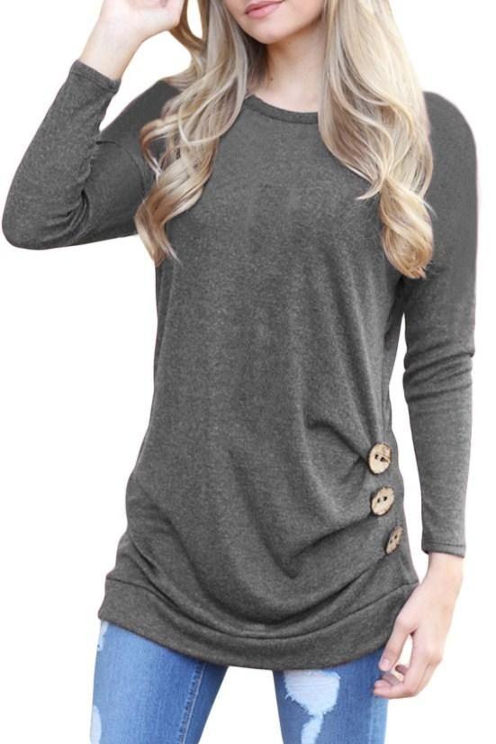 80646556db Gray Buttoned Side Long Sleeve Spring Fall Womens Top  23.99  Grey   beautiful  women  love