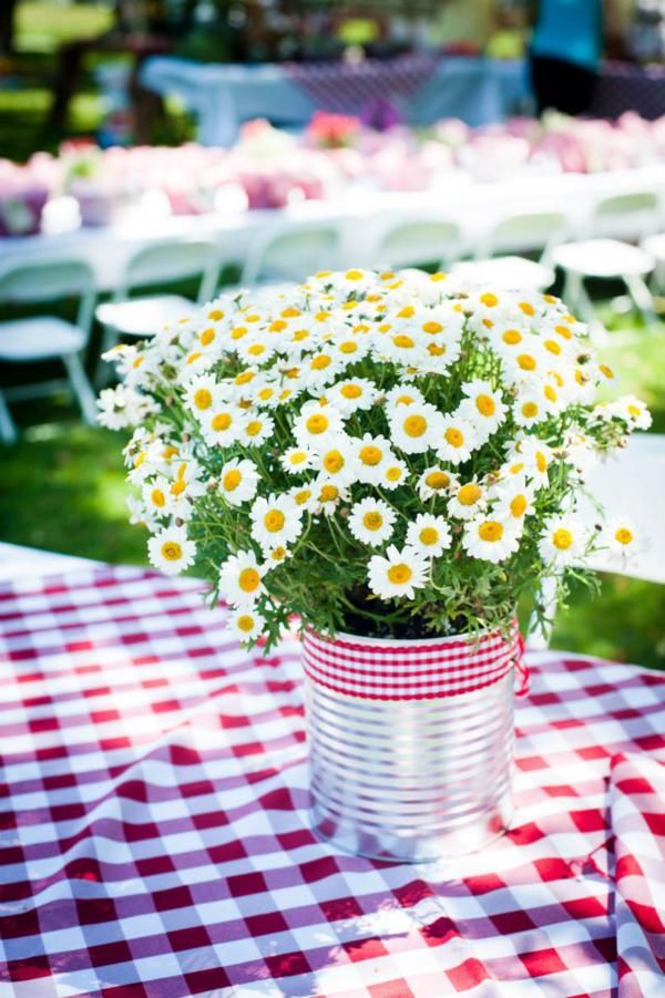 EASY summer entertaining centerpiece table idea. Can, ribbon and inexpensive wild flowers. Love. More fabulous ideas via Kara's Party Ideas KarasPartyIdeas.com