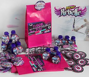 Personalised Boys NERF GUN and Girls NERF REBELLE Party Gift Bags & Fillers